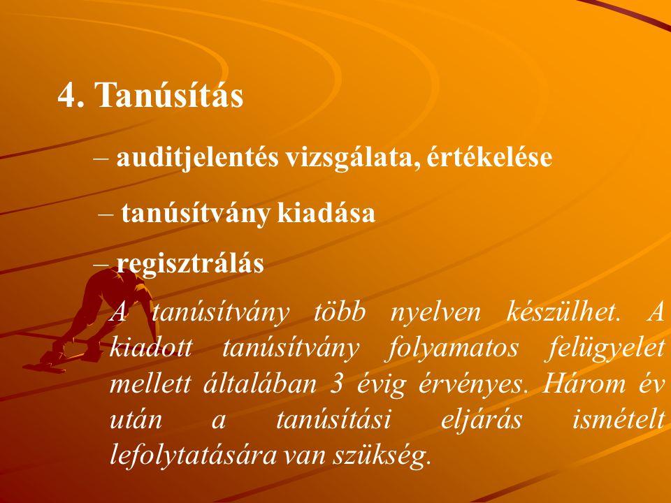 4. Tanúsítás – auditjelentés vizsgálata, értékelése – tanúsítvány kiadása – regisztrálás A tanúsítvány több nyelven készülhet. A kiadott tanúsítvány f