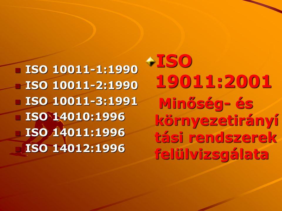 n ISO 10011-1:1990 n ISO 10011-2:1990 n ISO 10011-3:1991 n ISO 14010:1996 n ISO 14011:1996 n ISO 14012:1996 ISO 19011:2001 Minőség- és környezetirányí