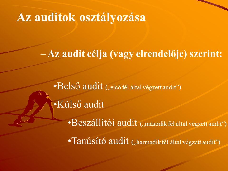 """Az auditok osztályozása – Az audit célja (vagy elrendelője) szerint: Belső audit (""""első fél által végzett audit"""") Külső audit Beszállítói audit (""""máso"""