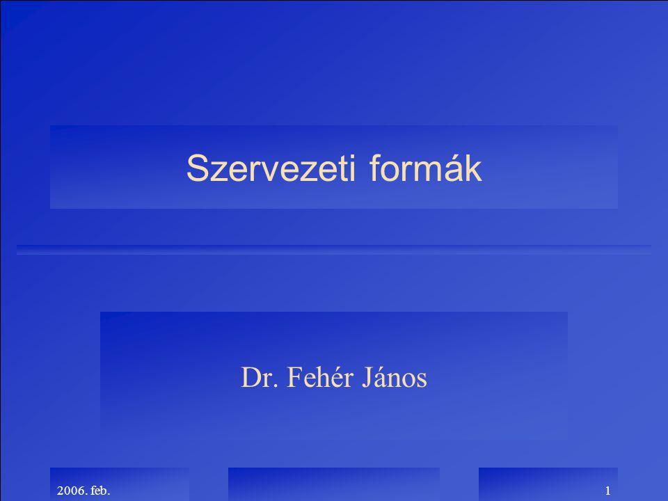 2006. feb.1 Szervezeti formák Dr. Fehér János