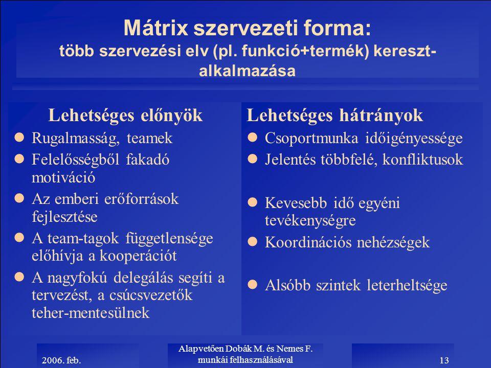 2006. feb. Alapvetően Dobák M. és Nemes F. munkái felhasználásával13 Mátrix szervezeti forma: több szervezési elv (pl. funkció+termék) kereszt- alkalm