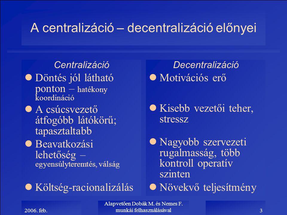 2006. feb. Alapvetően Dobák M. és Nemes F. munkái felhasználásával3 A centralizáció – decentralizáció előnyei Centralizáció lDöntés jól látható ponton