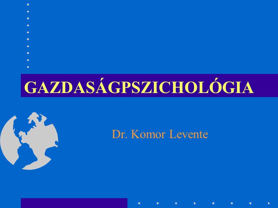 Gazdaságpszichológia Fő témakörök 1.Gazdaságpszichológia tárgya, célja, összefüggése a társadalomtudományokkal 2.Az összehasonlítások, a mérés problematikája a problémamegoldás 3.
