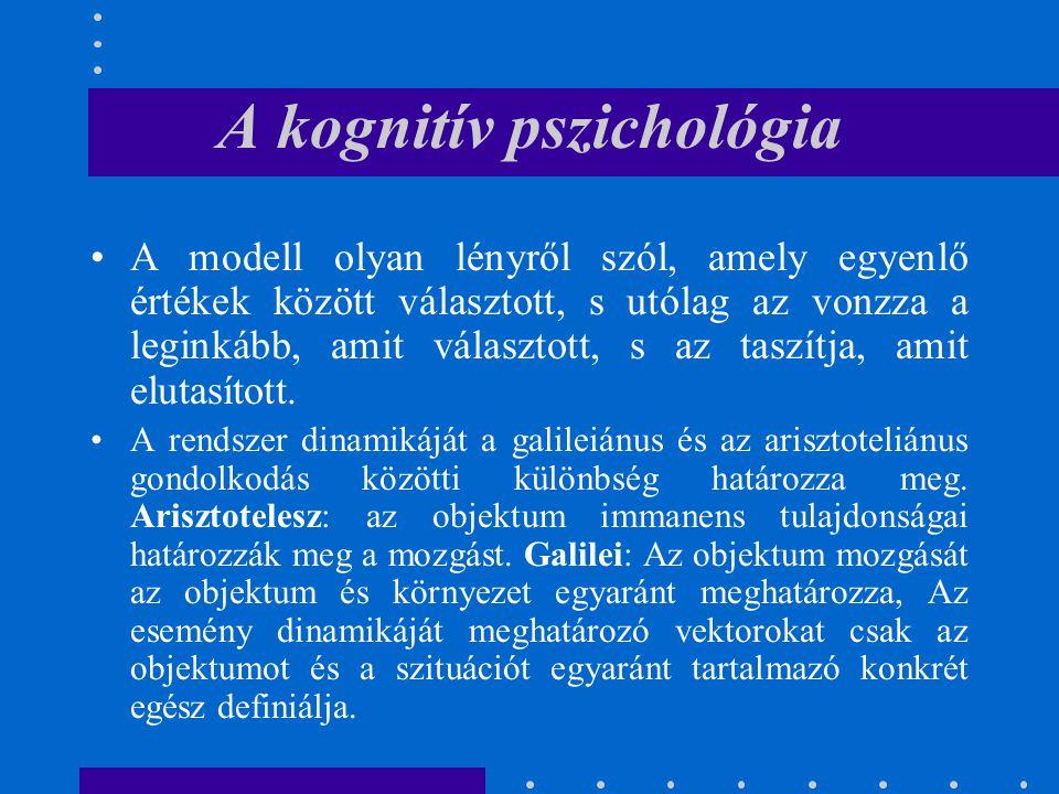 A kognitív pszichológia A modell olyan lényről szól, amely egyenlő értékek között választott, s utólag az vonzza a leginkább, amit választott, s az ta