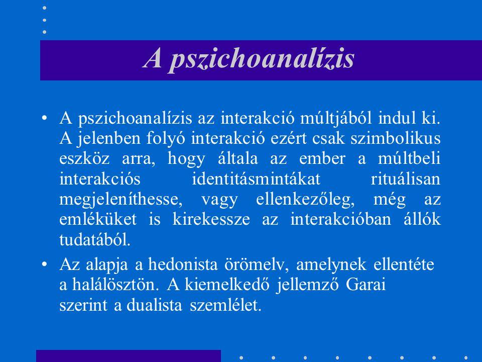 A pszichoanalízis A pszichoanalízis az interakció múltjából indul ki. A jelenben folyó interakció ezért csak szimbolikus eszköz arra, hogy általa az e