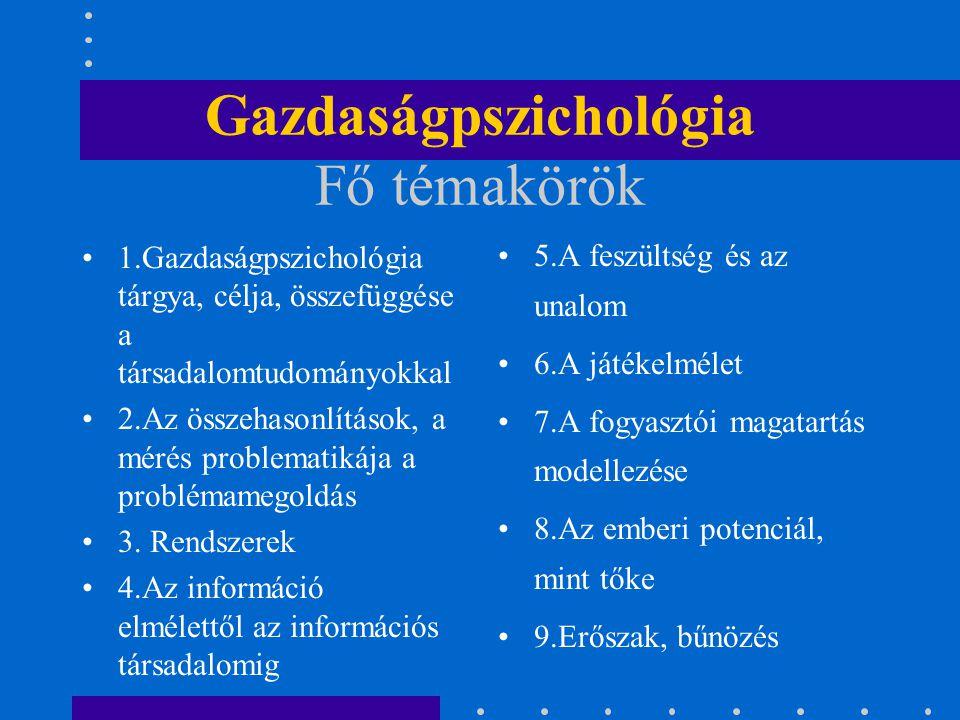 Gazdaságpszichológia Fő témakörök 1.Gazdaságpszichológia tárgya, célja, összefüggése a társadalomtudományokkal 2.Az összehasonlítások, a mérés problem
