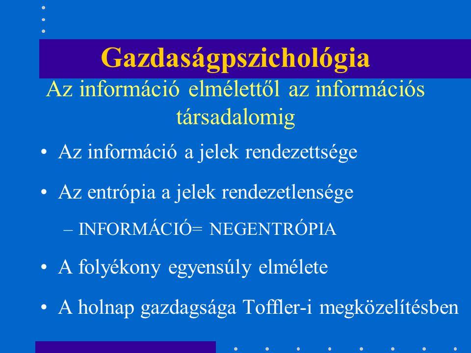 Gazdaságpszichológia Az információ elmélettől az információs társadalomig Az információ a jelek rendezettsége Az entrópia a jelek rendezetlensége –INF