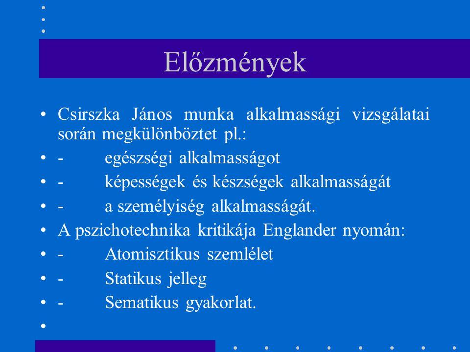 Előzmények Csirszka János munka alkalmassági vizsgálatai során megkülönböztet pl.: - egészségi alkalmasságot - képességek és készségek alkalmasságát -