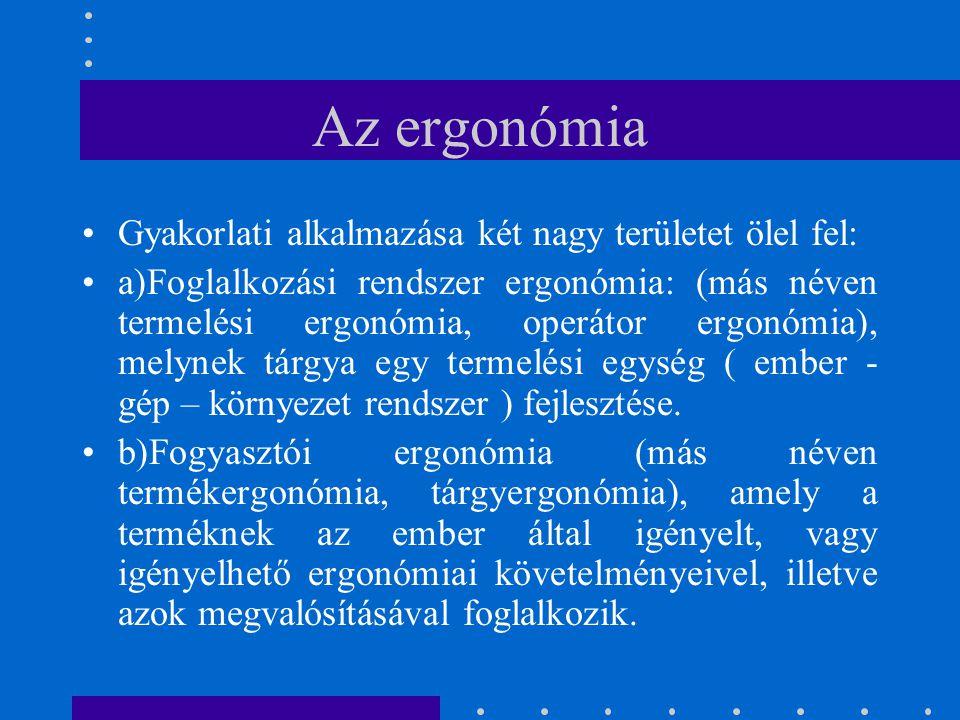 Az ergonómia Gyakorlati alkalmazása két nagy területet ölel fel: a)Foglalkozási rendszer ergonómia: (más néven termelési ergonómia, operátor ergonómia