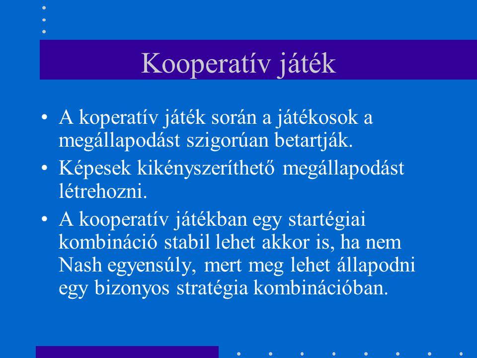 Kooperatív játék A koperatív játék során a játékosok a megállapodást szigorúan betartják. Képesek kikényszeríthető megállapodást létrehozni. A koopera