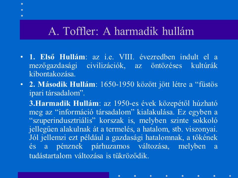 A. Toffler: A harmadik hullám 1. Első Hullám: az i.e. VIII. évezredben indult el a mezőgazdasági civilizációk, az öntözéses kultúrák kibontakozása. 2.