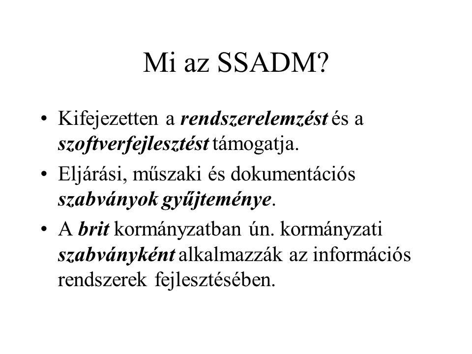 Az SSADM jellemzése 1 Két főrészből áll: –az egyik a felhasználói követelmények elemzése, –a másik a rendszer tervezése.