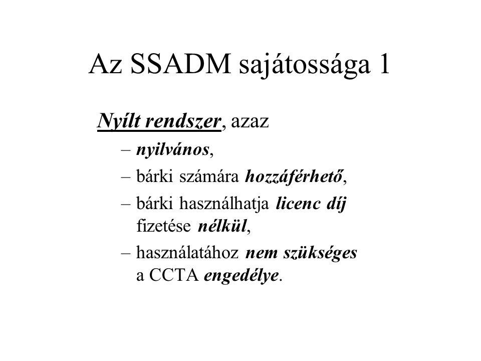 Az SSADM sajátossága 1 Nyílt rendszer, azaz –nyilvános, –bárki számára hozzáférhető, –bárki használhatja licenc díj fizetése nélkül, –használatához nem szükséges a CCTA engedélye.