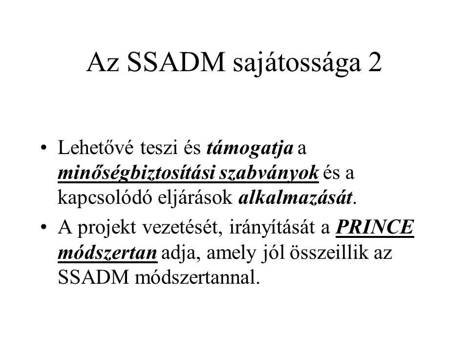 Az SSADM sajátossága 2 Lehetővé teszi és támogatja a minőségbiztosítási szabványok és a kapcsolódó eljárások alkalmazását.