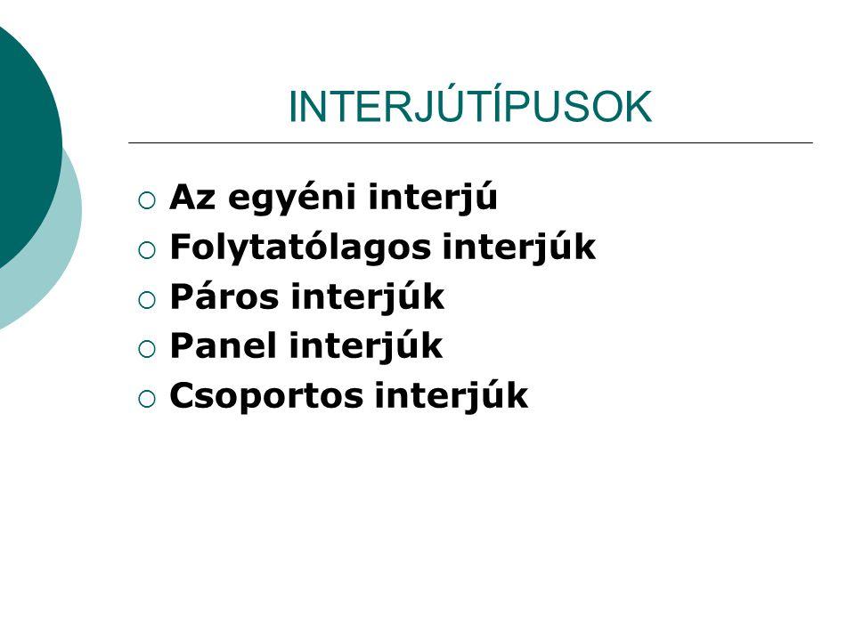 INTERJÚTÍPUSOK  Az egyéni interjú  Folytatólagos interjúk  Páros interjúk  Panel interjúk  Csoportos interjúk
