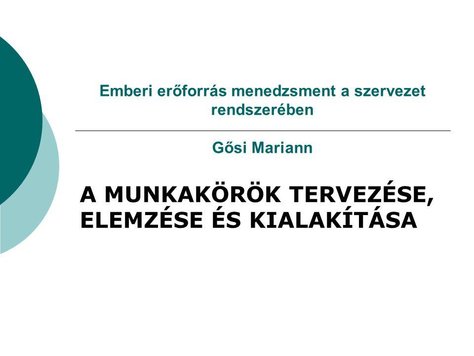 Emberi erőforrás menedzsment a szervezet rendszerében Gősi Mariann A MUNKAKÖRÖK TERVEZÉSE, ELEMZÉSE ÉS KIALAKÍTÁSA