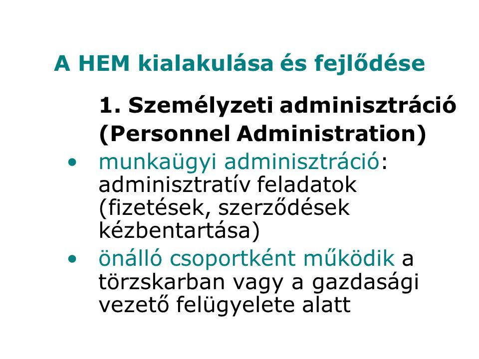 1. Személyzeti adminisztráció (Personnel Administration) munkaügyi adminisztráció: adminisztratív feladatok (fizetések, szerződések kézbentartása) öná