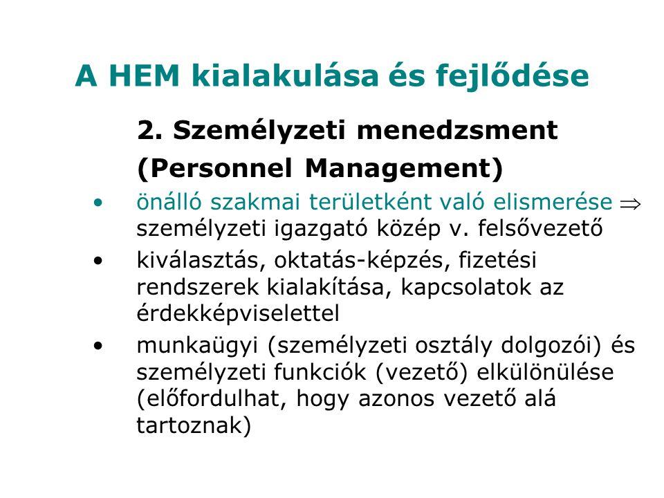 A HEM kialakulása és fejlődése 2. Személyzeti menedzsment (Personnel Management) önálló szakmai területként való elismerése  személyzeti igazgató köz