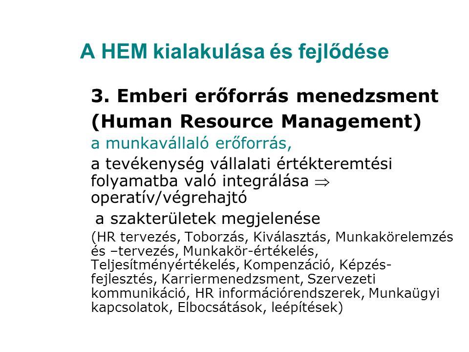 A HEM kialakulása és fejlődése 3. Emberi erőforrás menedzsment (Human Resource Management) a munkavállaló erőforrás, a tevékenység vállalati értéktere