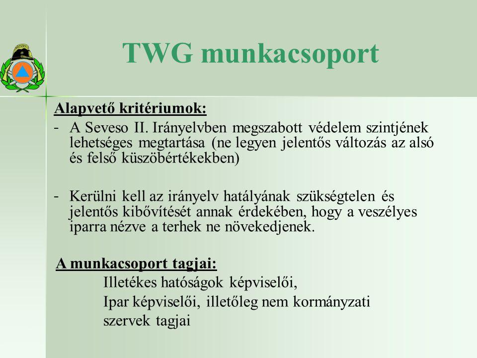 13 22.10.2009 TWG munkacsoport Alapvető kritériumok: − − A Seveso II.
