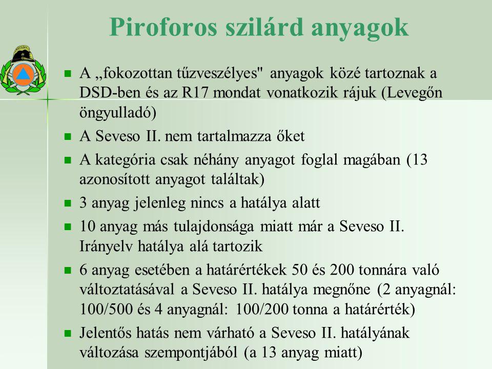 """Piroforos szilárd anyagok A """"fokozottan tűzveszélyes anyagok közé tartoznak a DSD-ben és az R17 mondat vonatkozik rájuk (Levegőn öngyulladó) A Seveso II."""