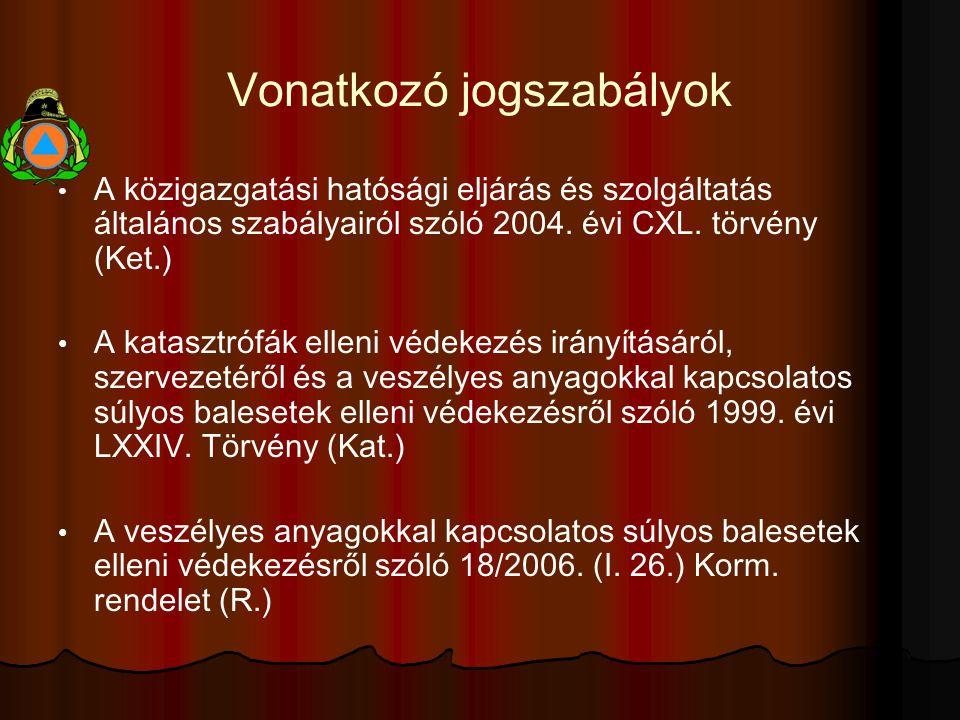 Vonatkozó jogszabályok A közigazgatási hatósági eljárás és szolgáltatás általános szabályairól szóló 2004.