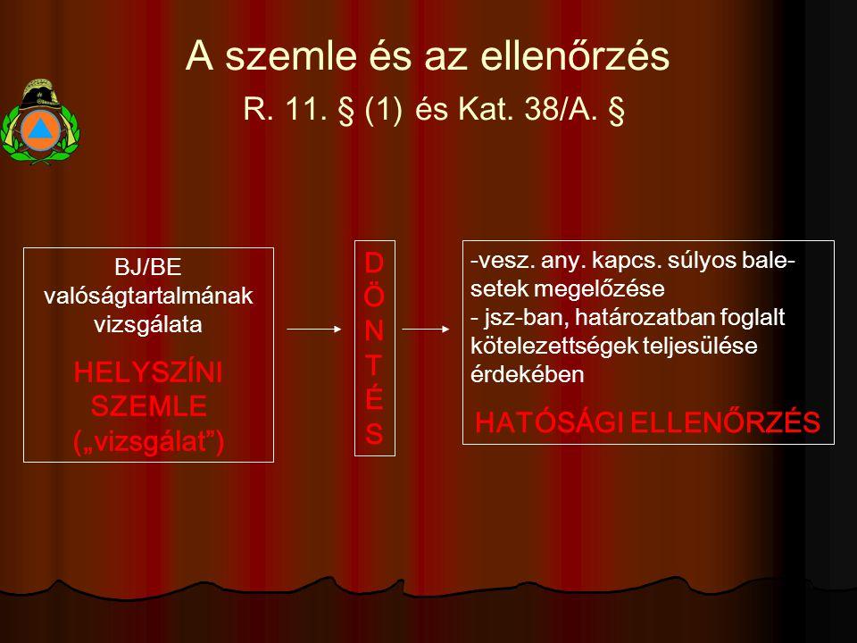 A szemle és az ellenőrzés R. 11. § (1) és Kat. 38/A.