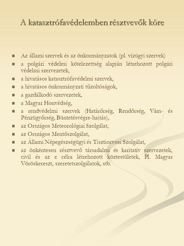 A katasztrófavédelemben résztvevők köre Az állami szervek és az önkormányzatok (pl.