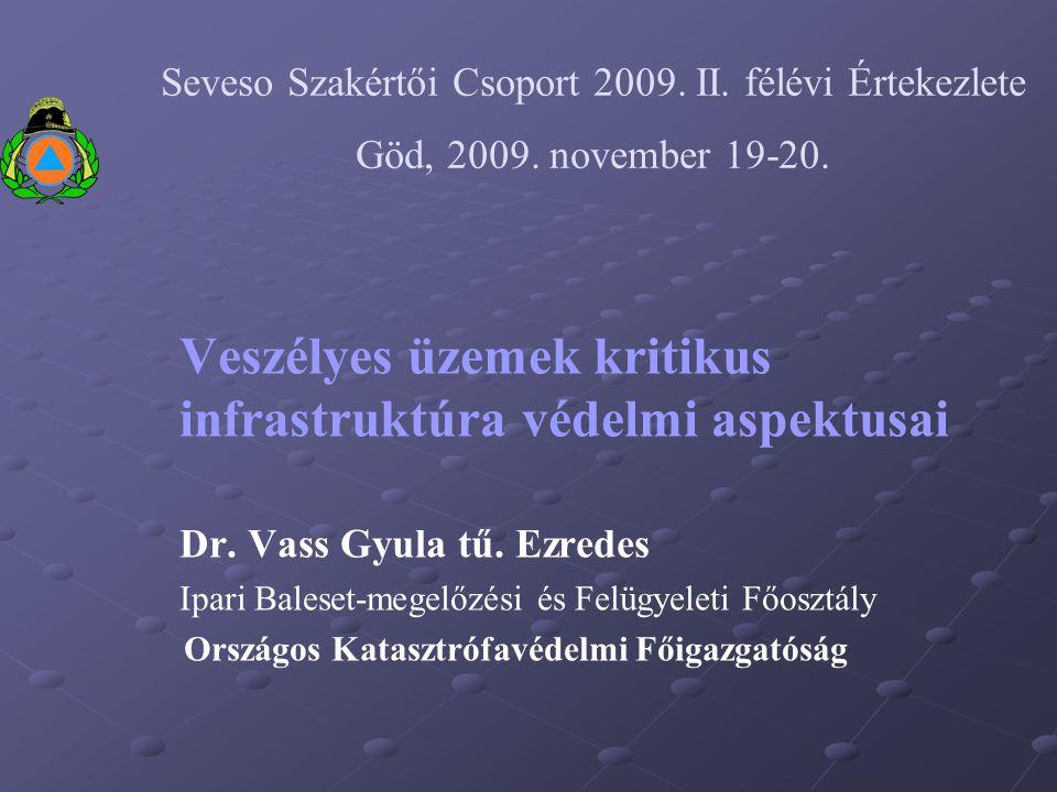 Veszélyes üzemek kritikus infrastruktúra védelmi aspektusai Dr. Vass Gyula tű. Ezredes Ipari Baleset-megelőzési és Felügyeleti Főosztály Országos Kata