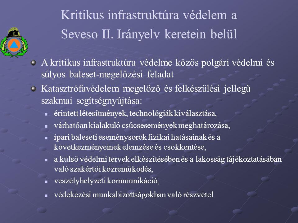 Kritikus infrastruktúra védelem a Seveso II. Irányelv keretein belül A kritikus infrastruktúra védelme közös polgári védelmi és súlyos baleset-megelőz