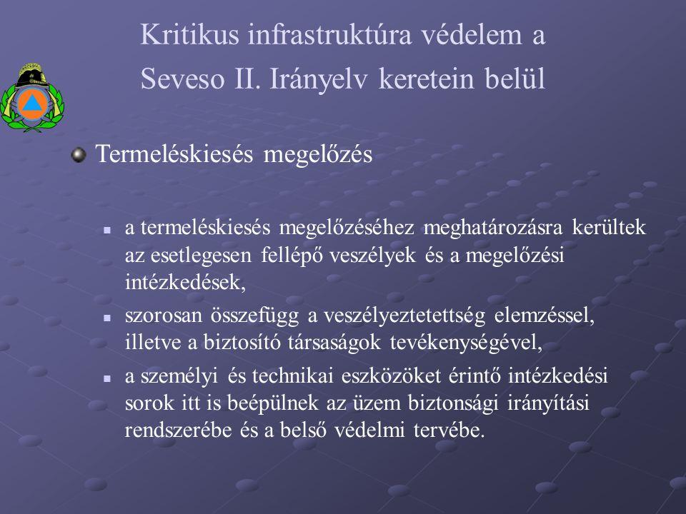 Kritikus infrastruktúra védelem a Seveso II. Irányelv keretein belül Termeléskiesés megelőzés a termeléskiesés megelőzéséhez meghatározásra kerültek a