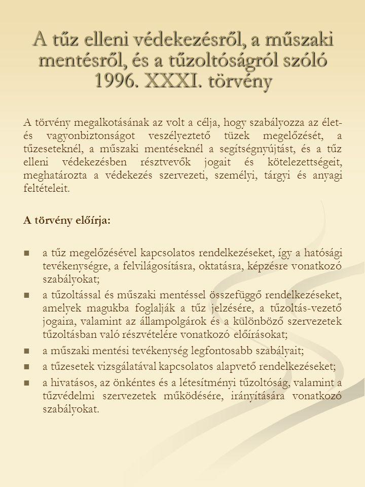 A tűz elleni védekezésről, a műszaki mentésről, és a tűzoltóságról szóló 1996. XXXI. törvény A törvény megalkotásának az volt a célja, hogy szabályozz