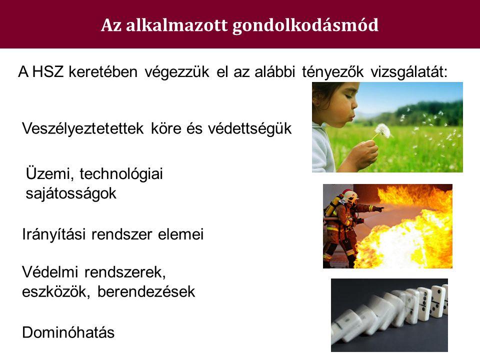 Az alkalmazott gondolkodásmód Veszélyeztetettek köre és védettségük Üzemi, technológiai sajátosságok Védelmi rendszerek, eszközök, berendezések A HSZ