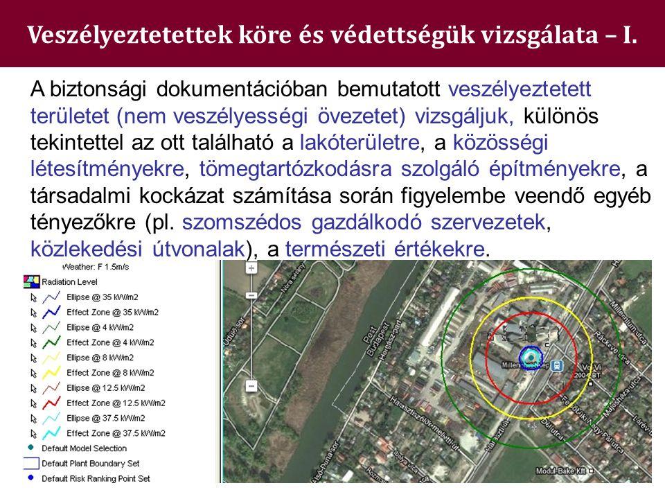 Veszélyeztetettek köre és védettségük vizsgálata – I. A biztonsági dokumentációban bemutatott veszélyeztetett területet (nem veszélyességi övezetet) v