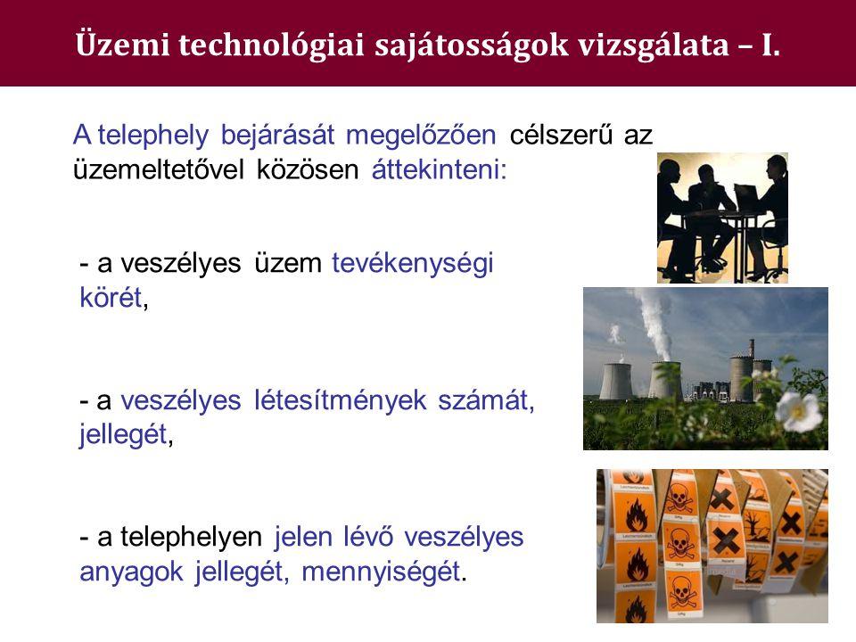 Üzemi technológiai sajátosságok vizsgálata – I.