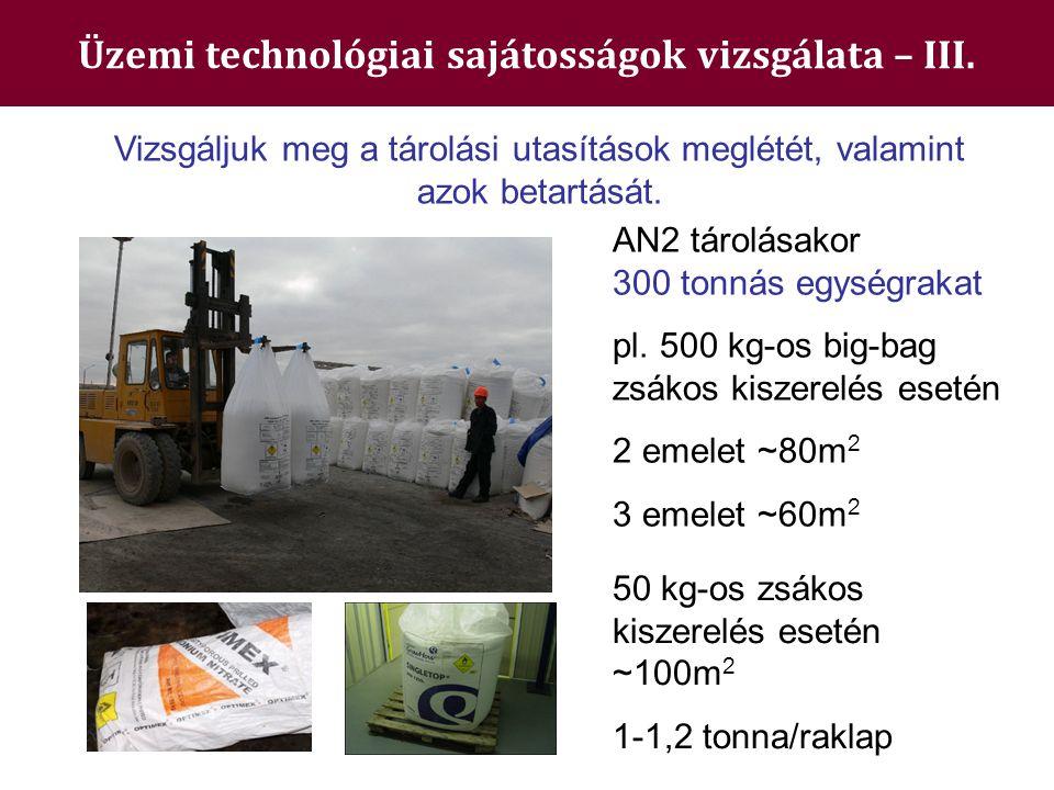 Üzemi technológiai sajátosságok vizsgálata – III. Vizsgáljuk meg a tárolási utasítások meglétét, valamint azok betartását. AN2 tárolásakor 300 tonnás