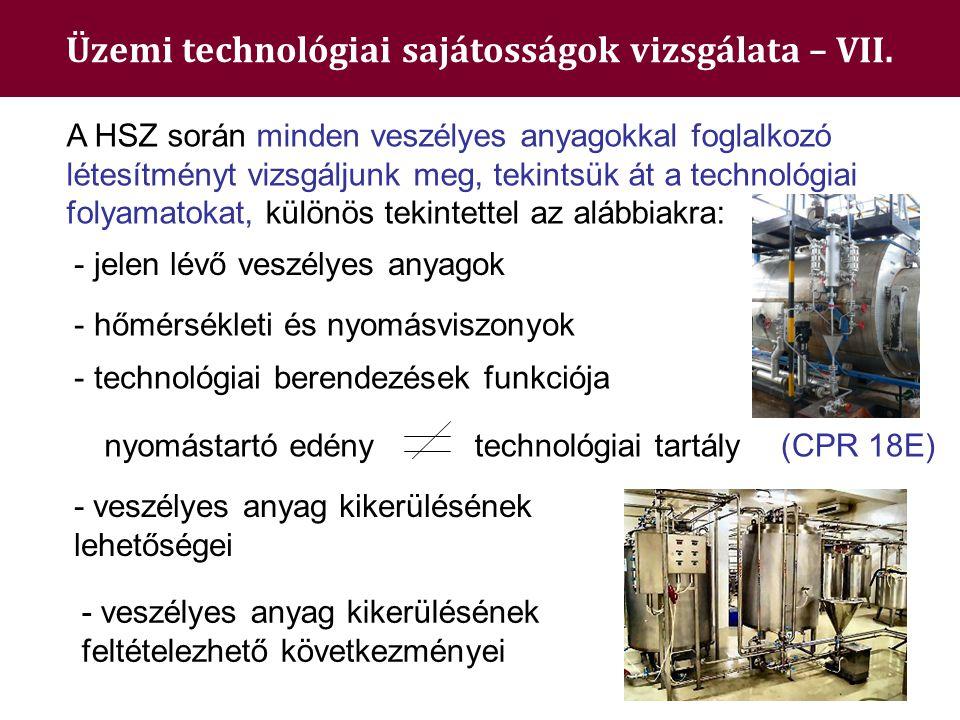 Üzemi technológiai sajátosságok vizsgálata – VII. - hőmérsékleti és nyomásviszonyok A HSZ során minden veszélyes anyagokkal foglalkozó létesítményt vi