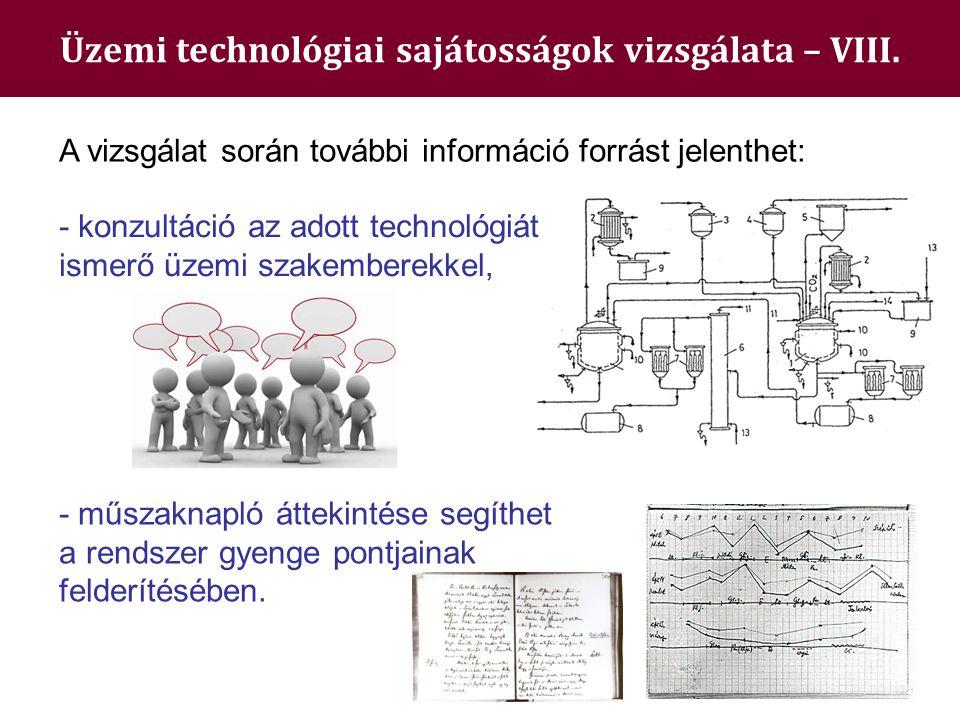 Üzemi technológiai sajátosságok vizsgálata – VIII. - műszaknapló áttekintése segíthet a rendszer gyenge pontjainak felderítésében. A vizsgálat során t