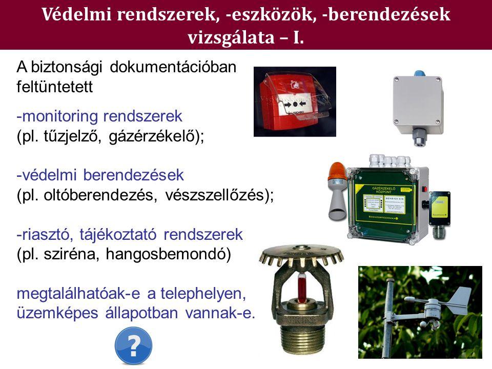 Védelmi rendszerek, -eszközök, -berendezések vizsgálata – I. A biztonsági dokumentációban feltüntetett -monitoring rendszerek (pl. tűzjelző, gázérzéke