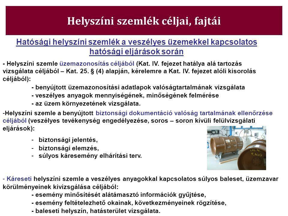 Helyszíni szemlék céljai, fajtái Hatósági helyszíni szemlék a veszélyes üzemekkel kapcsolatos hatósági eljárások során - Helyszíni szemle üzemazonosít