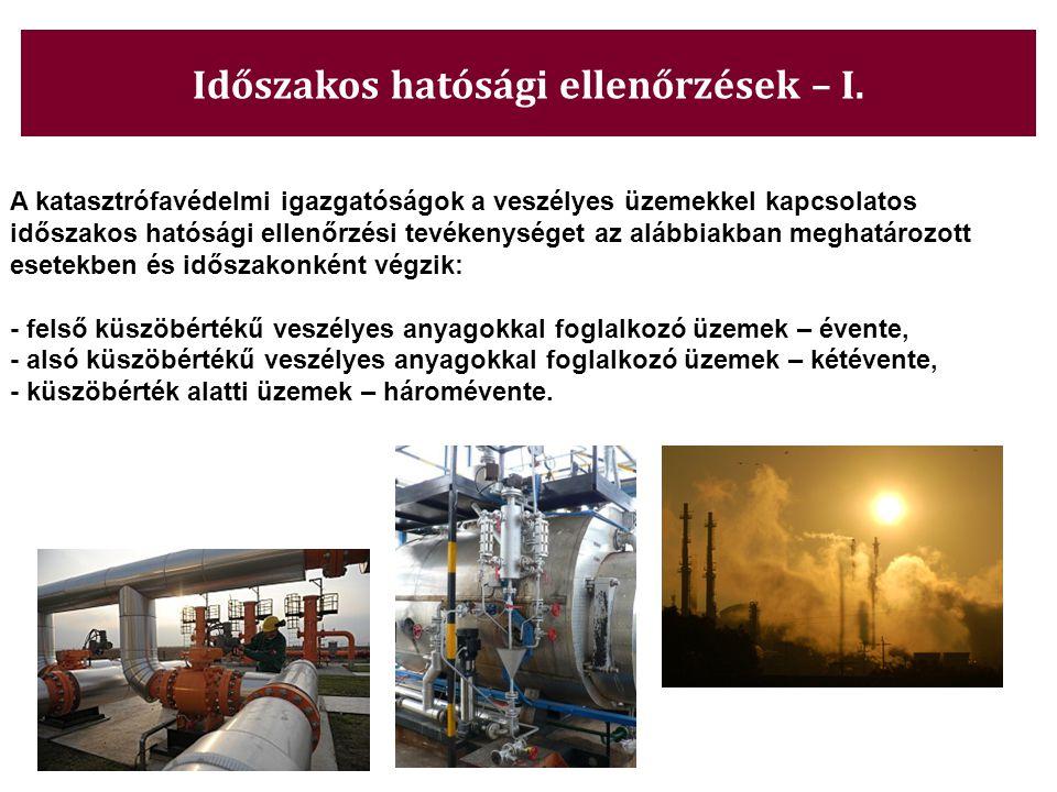 Időszakos hatósági ellenőrzések – I. A katasztrófavédelmi igazgatóságok a veszélyes üzemekkel kapcsolatos időszakos hatósági ellenőrzési tevékenységet