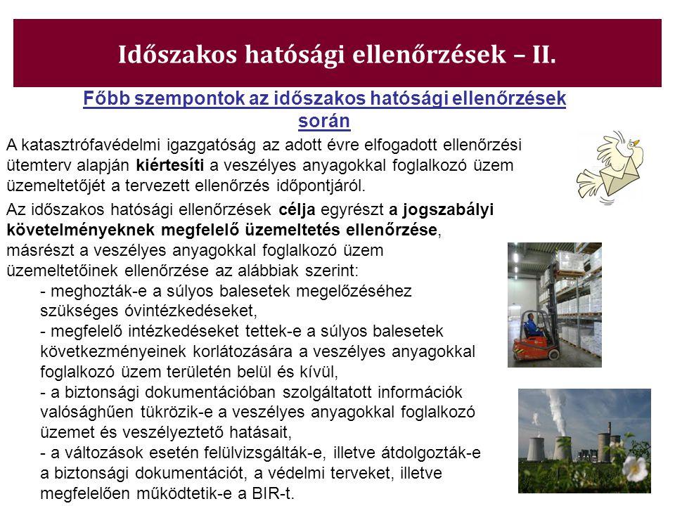 Időszakos hatósági ellenőrzések – II.