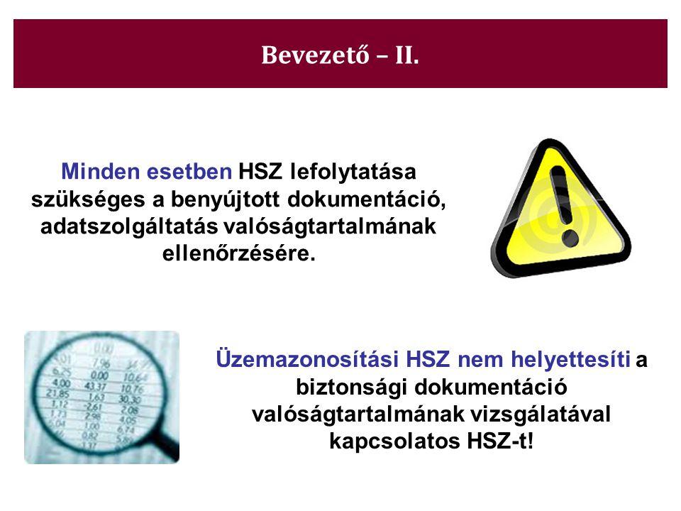 Bevezető – II. Minden esetben HSZ lefolytatása szükséges a benyújtott dokumentáció, adatszolgáltatás valóságtartalmának ellenőrzésére. Üzemazonosítási