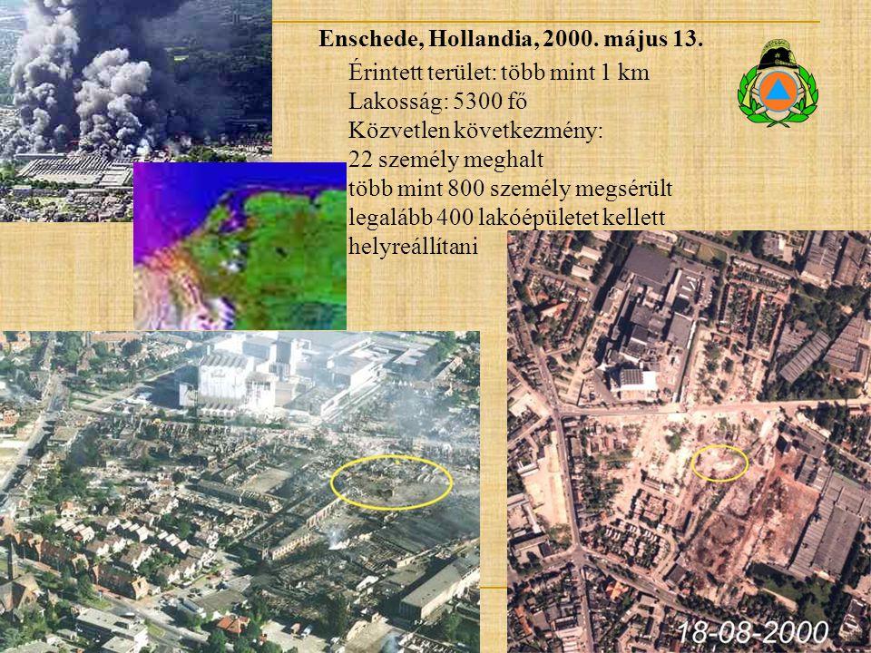 Enschede, Hollandia, 2000. május 13. Érintett terület: több mint 1 km Lakosság: 5300 fő Közvetlen következmény: 22 személy meghalt több mint 800 szemé