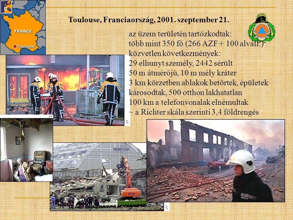 Toulouse, Franciaország, 2001. szeptember 21. az üzem területén tartózkodtak: több mint 350 fő (266 AZF + 100 alváll.) közvetlen következmények: 29 el