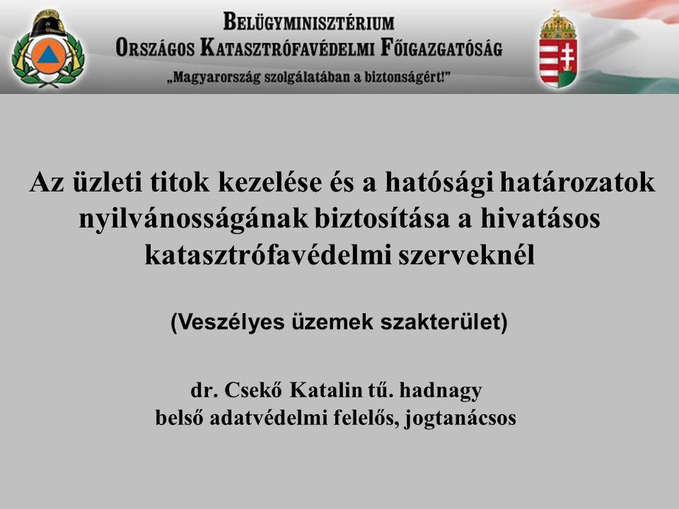 dr. Csekő Katalin tű. hadnagy belső adatvédelmi felelős, jogtanácsos Az üzleti titok kezelése és a hatósági határozatok nyilvánosságának biztosítása a