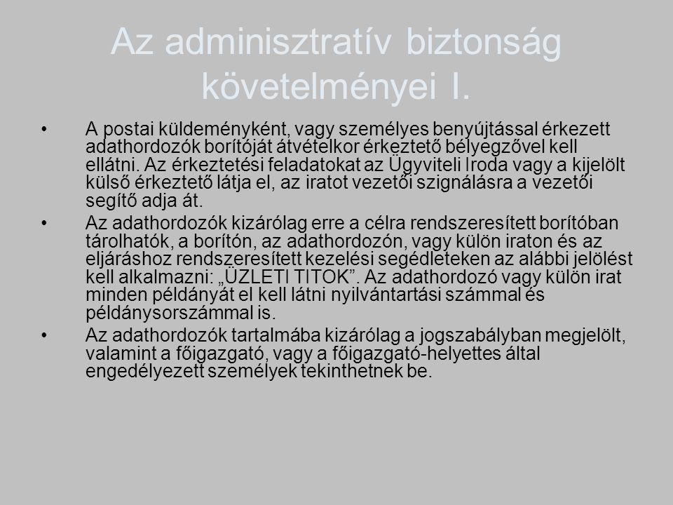 Az adminisztratív biztonság követelményei I. A postai küldeményként, vagy személyes benyújtással érkezett adathordozók borítóját átvételkor érkeztető
