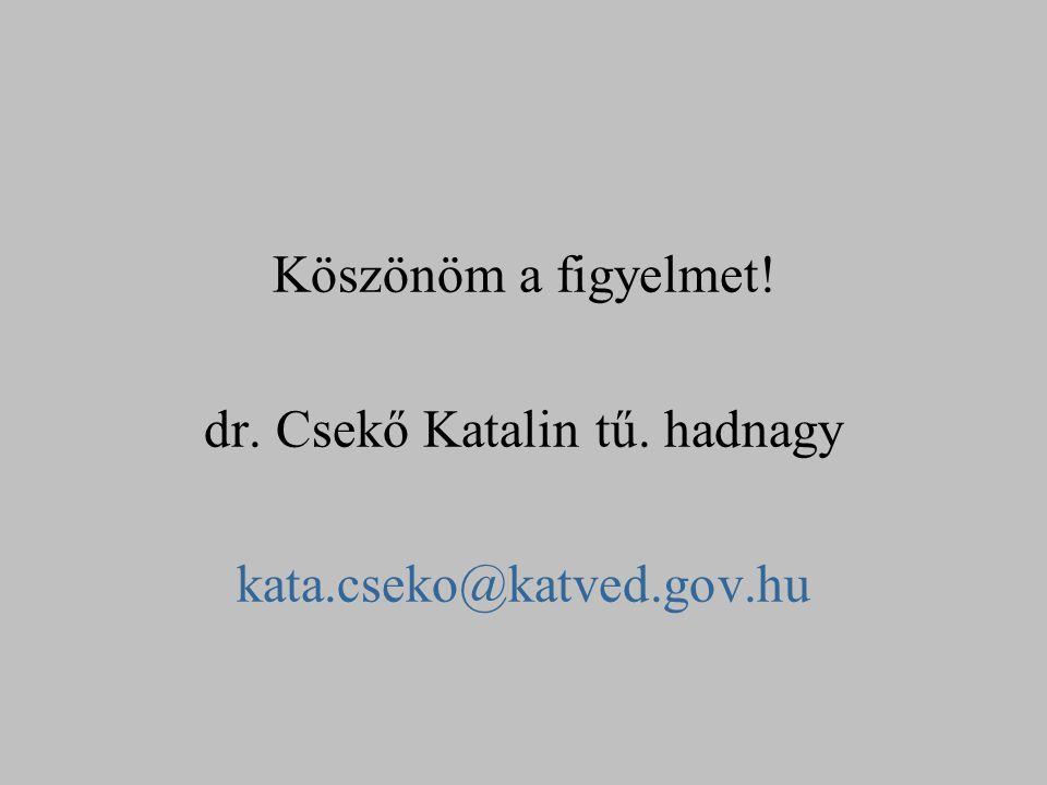 Köszönöm a figyelmet! dr. Csekő Katalin tű. hadnagy kata.cseko@katved.gov.hu