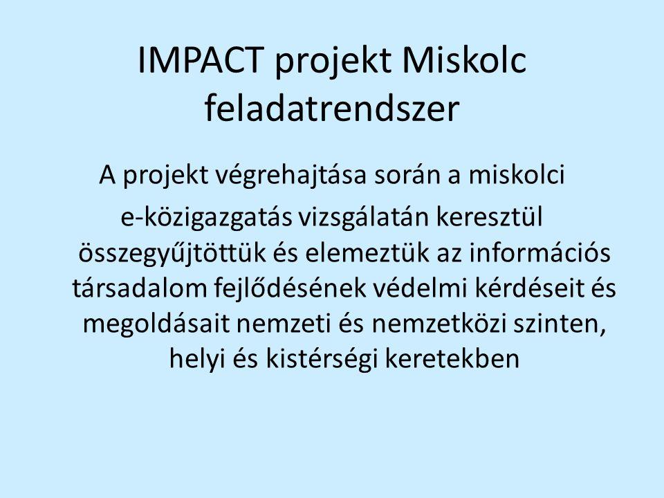 IMPACT projekt Miskolc feladatrendszer A projekt végrehajtása során a miskolci e-közigazgatás vizsgálatán keresztül összegyűjtöttük és elemeztük az in