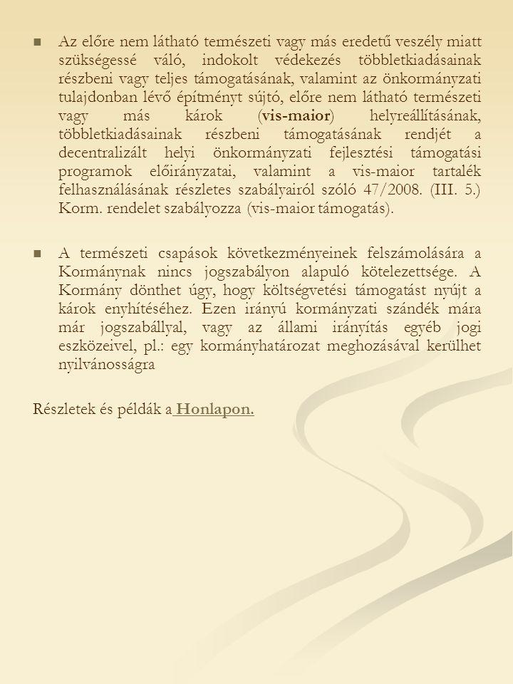 Eddigi helyreállítások rendszere Támogatás az önkormányzati rendszeren keresztül.
